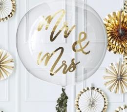 """Guminis balionas-orbz """"Mr&Mrs"""", skaidrus su auksu (91 cm) 1"""