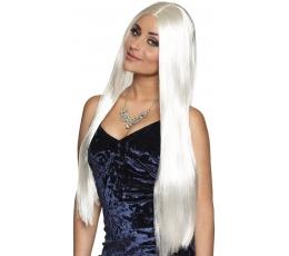 Ilgų plaukų perukas, baltas