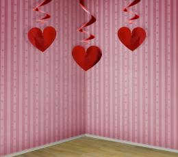 """Kabančios dekoracijos """"Raudonos širdelės"""" (3 vnt.) 1"""