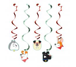"""Kabančios dekoracijos """"Šuniukai"""" (5 vnt.)"""