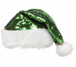 Kalėdų Senelio kepurė su žvyneliais, raudona/žalia 2