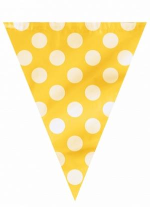 Vėliavėlių girlianda, taškuotai geltona (3,65 m)