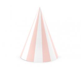 Kepuraitės, rausvai-baltai dryžuotos (6 vnt.)