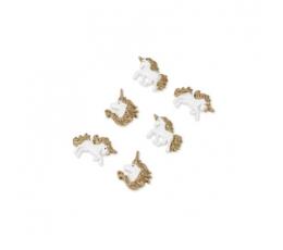"""Klijuojamos 3D dekoracijos """"Aukso vienaragiai"""" (6 vnt./ 3 cm)"""