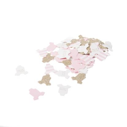 "Konfeti ""Baby girl"", rausvi-auksiniai (100 vnt./3 cm)"