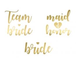 """Laikinos tatuiruotės """"Team bride"""" auksinės (13 vnt.)"""