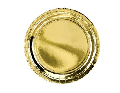 Lėkštutės, auksinės blizgios (6 vnt./23 cm)