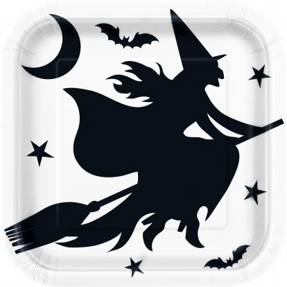 "Lėkštutės ""Helovino ragana"" (8 vnt./22 cm)"