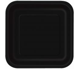 Lėkštutės, juodos kvadratinės (16 vnt./17 cm)