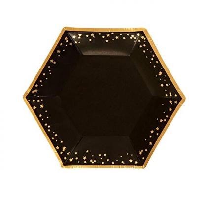 Lėkštutės, juodos su aukso žvaigždėmis (8 vnt.)