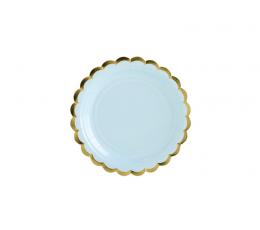 Lėkštutės, melsvos aukso krašteliu (6 vnt./18 cm)