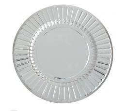 Lėkštutės-padėklai, sidabriniai žvilgantys (6 vnt./33 cm)