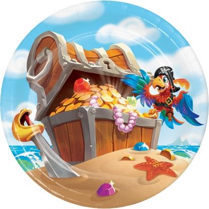 """Lėkštutės """"Piratai jūroje"""" (8 vnt./18 cm)"""