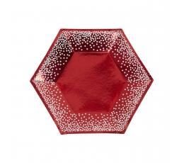 Lėkštutės, raudonos su baltais taškeliais (8 vnt./20 cm)