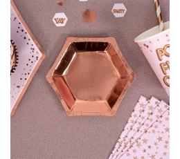 Lėkštutės, rožinio aukso spalvos (8 vnt./12 cm)