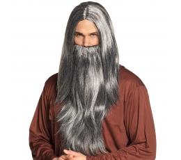 Mago perukas su barzda, pilkas