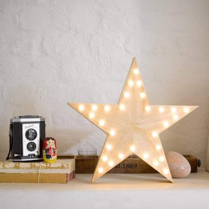 """Medinė šviečianti dekoracija """"Žvaigždė"""" (33 cm)"""