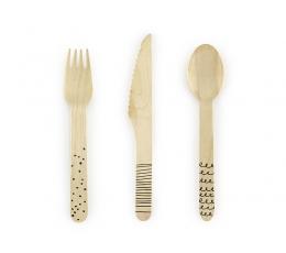 """Mediniai stalo įrankiai """"Juodi ornamentai"""" (8-iems)"""
