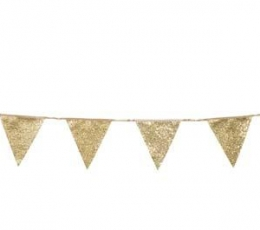 Medžiaginė vėliavėlių girlianda, auksinė (3m) 1