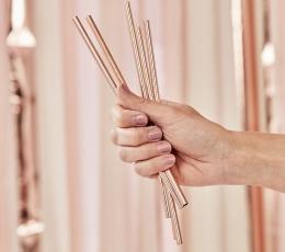 Metaliniai šiaudeliai su šepetėliu, rožinio aukso spalvos (5 vnt.) 1