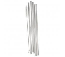 Metaliniai šiaudeliai su šepetėliu, sidabriniai (5 vnt.)