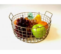 (NUOMA) Metalinis indas-krepšelis vaisiams, auksinis (24 cm)