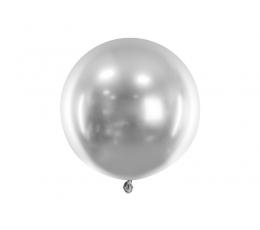 Metalizuotas balionas, apvalus sidabrinis (60 cm)
