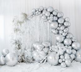 Metalizuotas balionas, apvalus sidabrinis (60 cm) 1