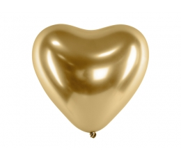 Metalizuotas balionas-širdelė, auksinis (30 cm)