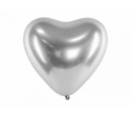Metalizuotas balionas-širdelė, sidabrinis (30 cm)