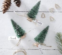 """Mini dekoracijos-vardų kortelės """"Žalios Kalėdų eglės"""" (6 vnt,) 1"""