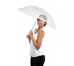 Nėriniuotas skėtis, baltas