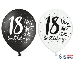 "Balionai ""18th Birthday"", juodi-balti (6 vnt./30 cm)"