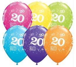 """Balionai """"20"""", įvairiaspalviai (6 vnt.)"""