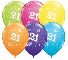 """Balionai """"21"""",  įvairiaspalviai (6 vnt. 28 cm.)"""