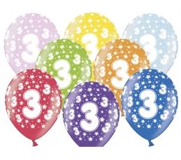 "Balionai ""3"", spalvoti (6 vnt./30 cm)"