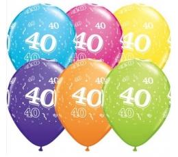 """Balionai """"40"""", įvairiaspalviai  (6 vnt./27 cm)"""