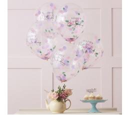 "Balionai ""Happy Birthday"" su gėlyčių  konfeti (5 vnt./30 cm)"
