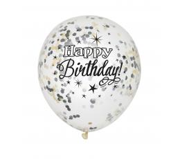 """Balionai """"Happy Birthday"""", su juodais-auksiniais konfeti (6 vnt.)"""