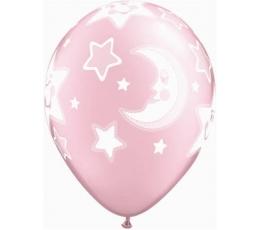 """Balionai """"Mėnuliai ir žvaigždutės"""", rožiniai (25vnt./28 cm)"""