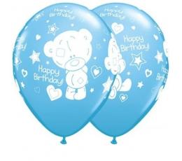 """Balionai """"Meškutis Happy birthday"""", melsvi (25 vnt./28 cm)"""