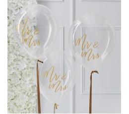 "Balionai ""Mr&Mrs"", skaidrūs su auksu (5 vnt./30 cm)"