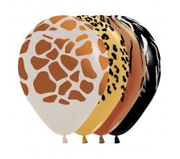 """Balionai """"Safari raštai"""", metalizuoti (50 vnt./12 cm)"""