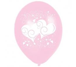 """Balionai """"Širdelės"""", rožinės (10 vnt./28cm.)"""