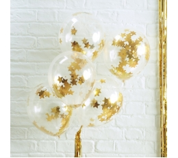 Balionai, skaidrūs su aukso žvaigždžių konfeti (5 vnt./30 cm)