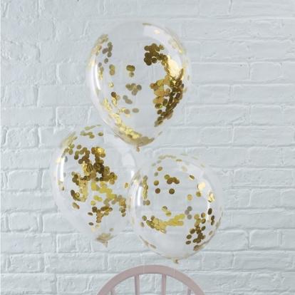 Balionai, skaidrūs su blizgiais auksiniais konfeti (5 vnt./30 cm)