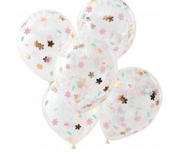 Balionai, skaidrūs su gėlyčių konfeti (5 vnt./30 cm)