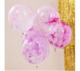 Balionai, skaidrūs su rožiniais dažais (5 vnt./30 cm)