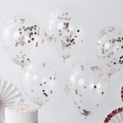 Balionai, skaidrūs su rožinio aukso konfeti (5 vnt./30 cm)