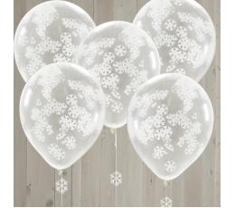 Balionai, skaidrūs su snaigių konfeti (5 vnt./30 cm)